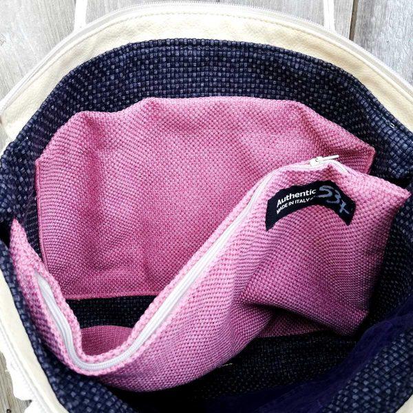 Borsa MINI PLUS ,con una manica di giacca, realizzata in Italia con materiali di riciclo da Ricicli Design